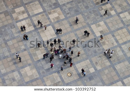 PRAGUE, CZECH REPUBLIC - APRIL 20: Aerial view of the third courtyard of Prague castle in Prague on April 20, 2012. Prague Castle is the biggest castle in the world at about 570 meters in length. - stock photo