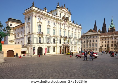 Prague, Czech Republic - April 23, 2015: Archbishop Palace , famous building at the main entrance in The Prague Castle.