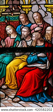 PRAGUE, CZECH REPUBLIC - APRIL 5, 2016: Stained Glass in the Basilica of Vysehrad in Prague, Czech Republic, depicting the Descent of the Holy Spirit at Pentecost