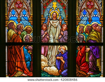 PRAGUE, CZECH REPUBLIC - APRIL 5, 2016: Stained Glass in the Basilica of Vysehrad in Prague, Czech Republic, depicting Jesus speaking to his disciples