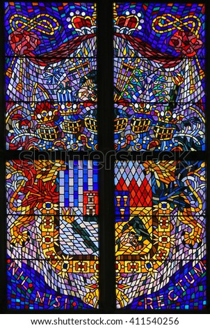 PRAGUE, CZECH REPUBLIC - APRIL 2, 2016: Stained Glass window in St. Vitus Cathedral, Prague, depicting a Coat of Arms - stock photo