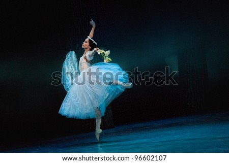 PRAGUE, CZECH REPUBLIC - APRIL 6: The Prague State Opera ballet ensemble presents the traditional version of Giselle on April 6, 2011 in Prague, Czech Republic. - stock photo