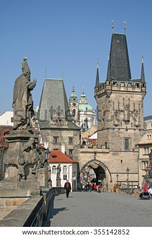 PRAGUE, CZECH REPUBLIC - APRIL 19, 2010: Towers of Charles Bridge, Prague, Czech Republic