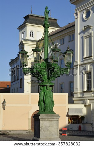 Prague, Czech Republic - artful lantern on square of Prague castle