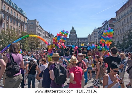 PRAGUE, CZECH REPUBLIC - AUGUST 18: Participants and spectators at the second Prague Pride Parade, on August 18, 2012 in Prague, Czech Republic - stock photo