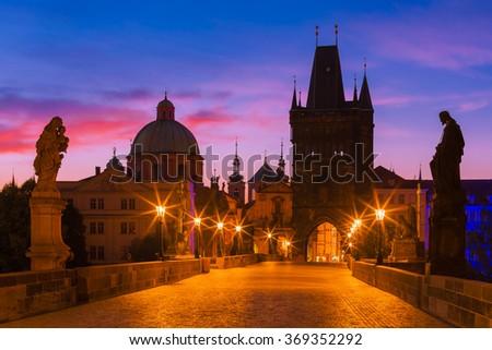 Prague, Czech Republic - Charles Bridge at Dawn - stock photo