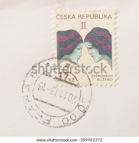 PRAGUE, CZECH REPUBLIC - CIRCA DECEMBER 2013: envelope with a Czech stamp with rose flower (ruze in Czech) - stock photo