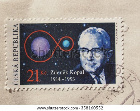 PRAGUE, CZECH REPUBLIC - CIRCA DECEMBER 2015: stamp from the Czech Republic celebrating the 100th anniversary of Czech astronomer Zdenek Kopal - stock photo