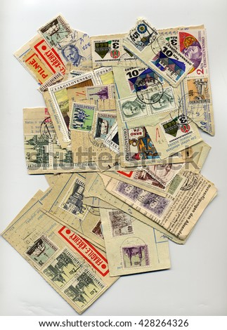 PRAGUE, CZECH REPUBLIC - CIRCA JANUARY 2013: Czechoslovakia stamps from the 50s - stock photo