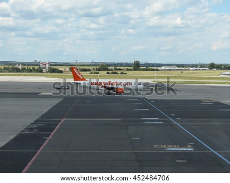 PRAGUE, CZECH REPUBLIC - CIRCA JULY 2016: Airbus A319 of Easyjet airlines on the runway at Vaclav Havel international airport - stock photo