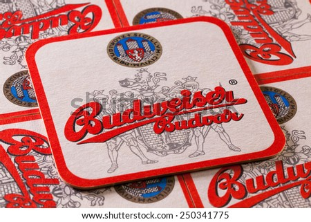 Prague,Czech Republic-December 3,2014: Beermats from Budweiser beer. Budweiser Budvar beer is brewed only in Ceske Budejovice and is never licensed.