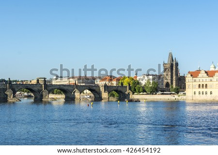 Prague, Czech Republic, Europe - July 06, 2014:  Charles Bridge over the Moldova River  with the Old City Tower