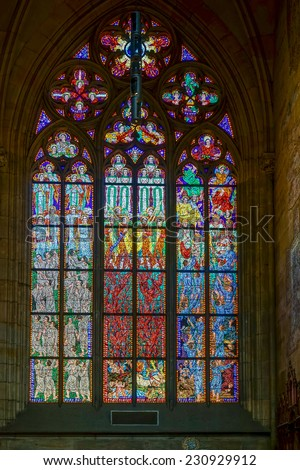 PRAGUE, CZECH REPUBLIC/EUROPE - SEPTEMBER 24 : Stained glass window in St Vitus Cathedral in Prague on September 24, 2014 - stock photo