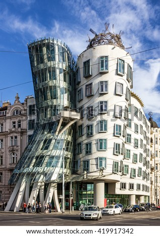 Prague, Czech Republic. Famous Dancing House, Fred and Ginger House. - stock photo