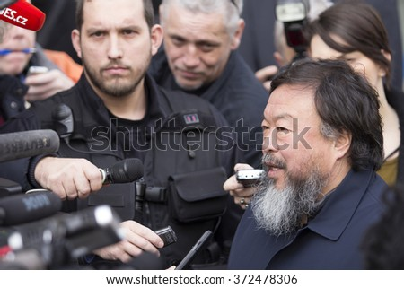 PRAGUE, CZECH REPUBLIC - FEBRUARY 5, 2016: Artist Ai Weiwei  speaks to media during preview of his exhibition Circle of Animals / Zodiac Heads at Trade Fare Palace / the National Gallery in Prague.