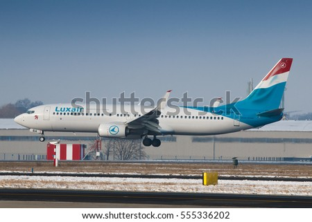 Prague, Czech Republic - January 08, 2017: Boeing B737-800 of Luxair lands at PRG Airport on January 08, 2017. Luxair is a national airline of Luxembourg