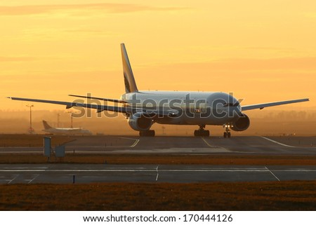 PRAGUE, CZECH REPUBLIC - JANUARY 07:Boeing 777-31H Emirates taxis to take off from PRG Airport on January 07, 2014. Emirates is the largest airline in the Middle East. It is an airline based in Dubai. - stock photo