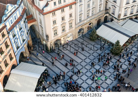PRAGUE, CZECH REPUBLIC - JANUARY 1, 2016 : Top cityscape view of Prague Old Town Square from Astronomical Clock Tower. - stock photo