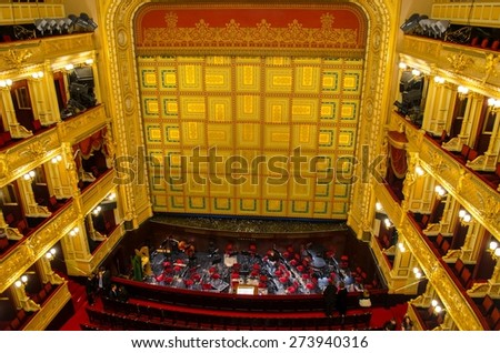 PRAGUE, CZECH REPUBLIC, JANUARY 30, 2015: view of the main stage of the national theatre in prague. - stock photo