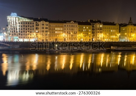 PRAGUE, CZECH REPUBLIC, JANUARY 30, 2015: View of the riverside of Moldau/Vltava river in Prague.