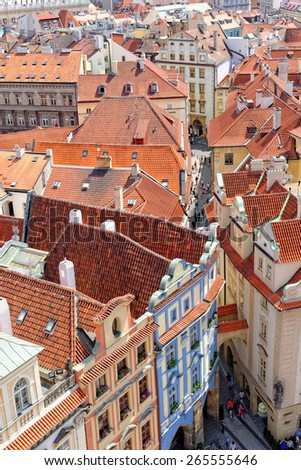 PRAGUE, CZECH REPUBLIC - JULY 3, 2014: Aerial view of the narrow street of Melantrichova near the Old Town Square - stock photo