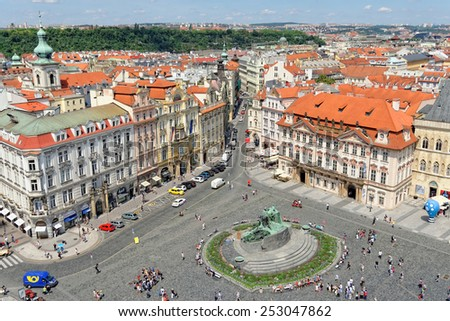 PRAGUE, CZECH REPUBLIC - JULY 3, 2014: Aerial view of the Old Town Square with the Jan Hus Monument in the center.  - stock photo