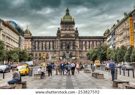 PRAGUE, CZECH REPUBLIC - JULY 2, 2014: Historical Wenceslas Square and national museum in background. It is one of the main city squares and the centre of the business in Prague - stock photo