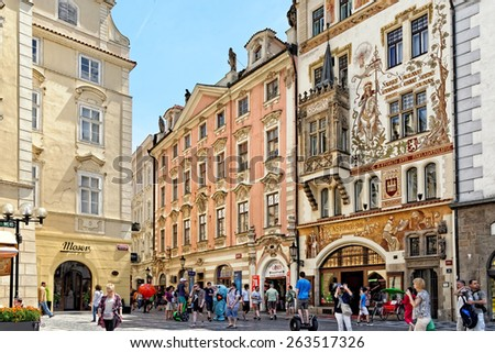 PRAGUE, CZECH REPUBLIC - JULY 3, 2014: The beginning of Celetna street, leading from the Old Town Square to the Powder Gate, and part of the Royal Route. It is full of famous houses and cafes. - stock photo