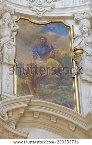 PRAGUE, CZECH REPUBLIC - JULY 3, 2014: The interior of the church of St. Nicholas in Old Town Square. The frescoes are celebrating St. Nicholas and St. Benedict and depicting scenes from old Testament - stock photo