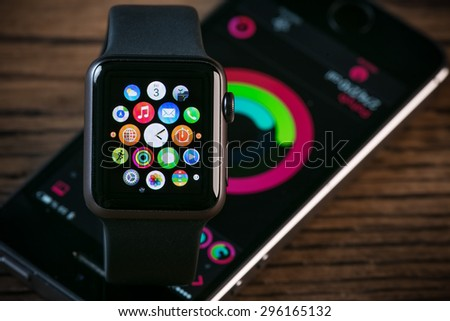 PRAGUE, CZECH REPUBLIC - June 22, 2015: Close-up of Apple Watch. Multiple Apps View. - stock photo