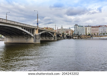 PRAGUE, CZECH REPUBLIC - JUNE 20, 2014: Dancing House (built in 1996) or Fred and Ginger House in the center of Prague. Building was designed by Vlado Milunic and Frank Gehry.