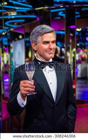 PRAGUE, CZECH REPUBLIC - JUNE 29, 2015: George Clooney, actor, Grevin museum. Grevin is the museum of the wax figures in Prague - stock photo