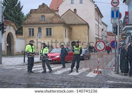 PRAGUE, CZECH REPUBLIC - JUNE 2: Policemen blocking off street in Malastrana, because of the flooding,  on June 2, 2013 in Prague, Czech Republic - stock photo