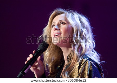 PRAGUE, CZECH REPUBLIC - MARCH 13, 2012: Belgian singer Lara Fabian performs live on stage during a concert on March 13, 2012 at Palac Akropolis in Prague, Czech Republic. - stock photo