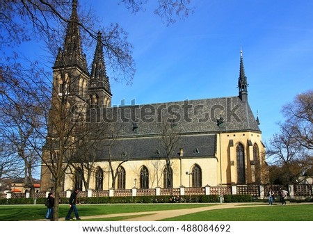 PRAGUE, CZECH REPUBLIC - March 28, 2016: Church of St. Peter and Paul at Vysehrad castle, Prague, Czech Republic on March 28, 2016