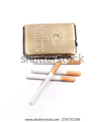 Prague, Czech Republic- March 3, 2015. Retro cigarette case Marlboro