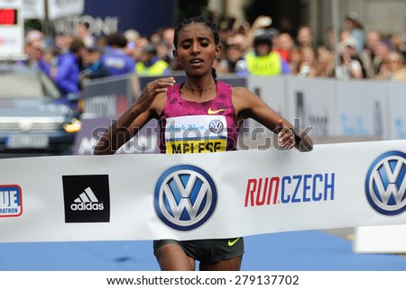 PRAGUE, CZECH REPUBLIC - MAY 3, 2015: Ethiopian runner MELESE YEBRGUAL wins the Volkswagen Marathon Prague, May 3, 2015 in Prague, Czech republic. - stock photo