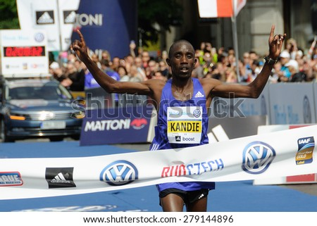 PRAGUE, CZECH REPUBLIC - MAY 3, 2015: Kenyan runner Felix Kandie wins the Volkswagen Marathon Prague, May 3, 2015 in Prague, Czech republic. - stock photo
