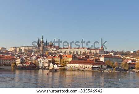 PRAGUE, CZECH REPUBLIC - NOVEMBER 02, 2015: Autumn view of Prague Castle from Vltava River in the historic center of Prague. World Heritage Site of UNESCO