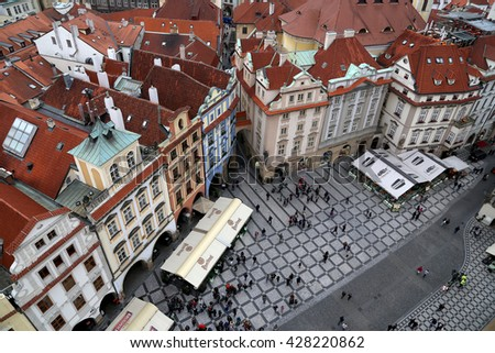 PRAGUE, CZECH REPUBLIC-  NOVEMBER 17, 2014: Prague roof tops and Old Town Square, Czech Republic         - stock photo