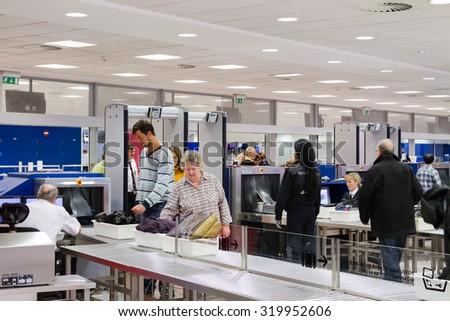 PRAGUE, CZECH REPUBLIC - NOVEMBER 9: Security check area, Prague Ruzyne Airport on November 9, 2014 in Prague, Czech Republic - stock photo