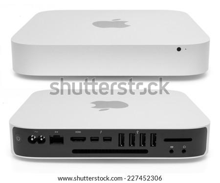 PRAGUE, CZECH REPUBLIC - OCTOBER 31, 2014: Apple Mac Mini Desktop Computer - model Late 2014