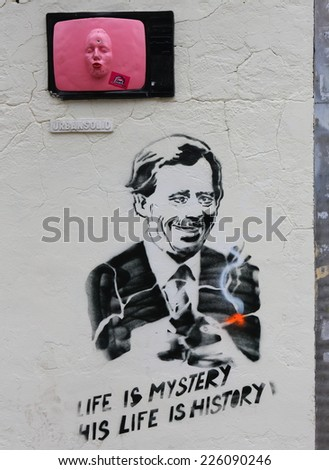 PRAGUE, CZECH REPUBLIC - OCTOBER 11, 2014: Graffiti of Vaclav Havel, Oct 11, 2014 in Prague. Havel was the ninth and last president of Czechoslovakia and the first president of the Czech Republic.  - stock photo