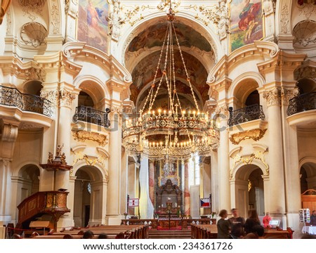 PRAGUE, CZECH REPUBLIC - OCTOBER 8, 2014: Interior Of Baroque Church Of St. Nicholas - Old Town Square in Prague, Czech Republic.