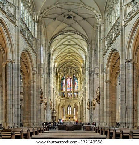 PRAGUE, CZECH REPUBLIC - OCTOBER 13, 2015: Interior of the St. Vitus Cathedral. The cathedral is the seat of the Archbishop of Prague and is the biggest and most important church in the country. - stock photo