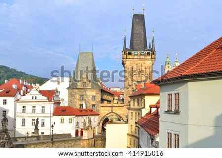 Prague, Czech Republic. Old town on the background of the cloudy sky