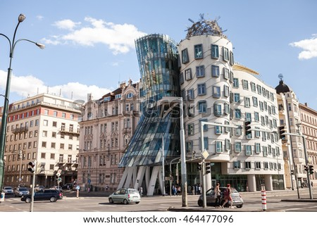 PRAGUE, CZECH REPUBLIC- September 20, 2015: Modern building, also known as the Dancing House, designed by Vlado Milunic and Frank O. Gehry stands on the Rasinovo Nabrezi.