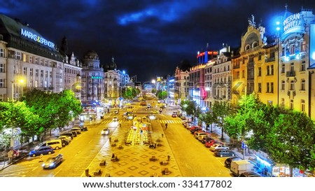 PRAGUE,CZECH REPUBLIC- SEPTEMBER 06, 2015: Wenceslas Square in Prague at night, dusk time,top view.Square is located in the center of Prague. Czech Republic. - stock photo