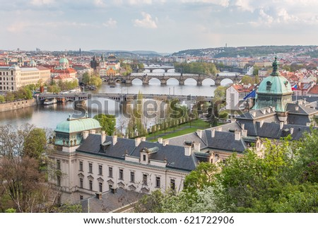 Prague, Czech republic - View from Letna hill to bridges on the Vltava river and on the Government Office.