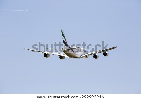 PRAGUE , CZECH REPUBLUC - 1 JULY 2015: An Emirates Airbus A380 Superjumbo in PRAGUE. The Airbus A380 is the world's largest passenger airliner. Emirates is an airline based in Dubai. - stock photo